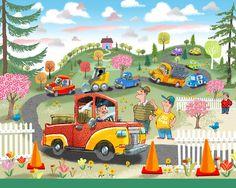 A fun landscape with trucks