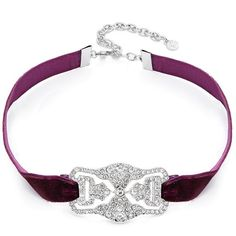 R.J. Graziano Deco Pave Velvety Choker Necklace (£37) ❤ liked on Polyvore featuring jewelry, necklaces, burgandy, r j graziano necklace, art deco jewellery, art deco-inspired jewelry, pave jewelry and deco jewelry