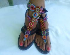 African Colours Beaded Leather Sandals Flip-Flops Shoes -Style No.30