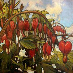 """String Of Hearts"" - Jan Schmuckal - 24""x 24"" - Impressionist - Original Oil Painting -  BLEEDING HEARTS - Arts & Crafts  - Bungalow"
