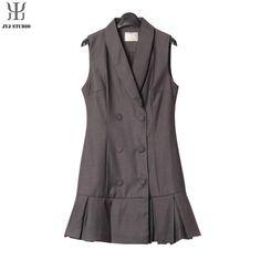 Aliexpress.com : Buy Black Suit Collar Sleeveless Bodycon Dress Short Dress Ruffle Purple Pleated Dress Gray Womens Sexy Ladies Office Dress Tank from Reliable tank dress pattern suppliers on JYJ STUDIO | Alibaba Group