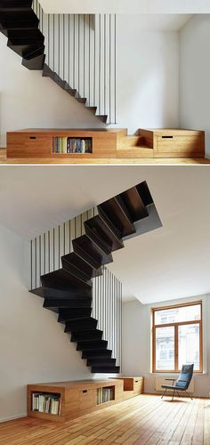 home stairs design ideas can attract the eyes. Choose between an art gallery, unique runner, and vintage design for your stairs. Architecture Design, Stairs Architecture, Black Stairs, Escalier Design, Contemporary Stairs, Staircase Design, Staircase Ideas, Stair Design, Staircase Remodel