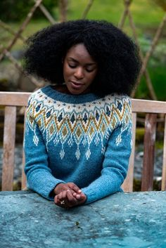 Seacross is a seamless, top down colour work sweater with a stunning five-colour yoke. Seacross by Becky Baker is available as a knitting kit including the pattern and The Fibre Co. Fair Isle Knitting, Free Knitting, Sock Knitting, Knitting Machine, Mode Statements, Icelandic Sweaters, Dk Weight Yarn, Sweater Knitting Patterns, Vintage Knitting