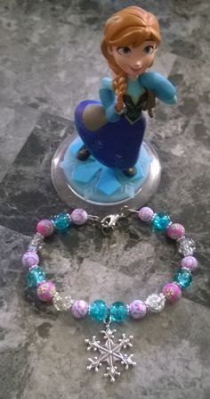 Frozen inspired girls bead bracelet with snowflake charm