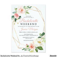 3c9d5e1992fe Bachelorette Weekend Itinerary Airy Blush Invitation Bachelorette Party  Invitations