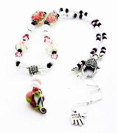 Handmade Lampwork Heart Necklace pink black white LN071  | egrobeck - Jewelry on ArtFire