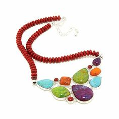 Jay King Multicolored Turquoise and Coral Necklace