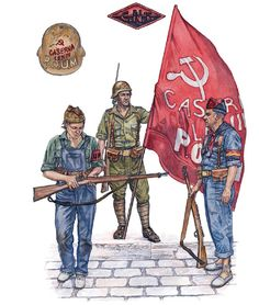 """Republican Forces - Militias: • Miliciana, UHP; Madrid, autumn 1936 • Miliciano, POUM; Aragón front, spring 1937 • Miliciano FAI; Aragón front, 1936"", Stephen Walsh"