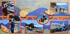 Travel Scrapbook Page - Galiano Island 2 page Kiwi Lane layout with sea shells from Everyday Life Album 31. The font for the title is from Don Juan.