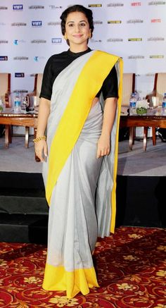 Vidya Balan- The Real Saree Goddess Sari Blouse Designs, Saree Blouse Patterns, Lehenga Saree, Saree Dress, Anarkali Gown, Indian Dresses, Indian Outfits, Formal Saree, Simple Sarees