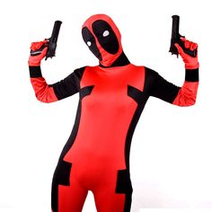 2017 Halloween Adult Deadpool Cosplay Costume Full Body  Suit  Deadpool Wade Cosplay Costume Jumpsuit #Affiliate