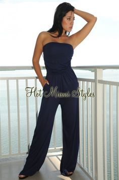 0f394c28844 Navy-Blue Draped Top Pocket Strapless Jumpsuit