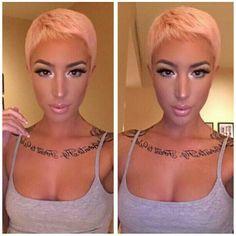 Pink pixie hair cut