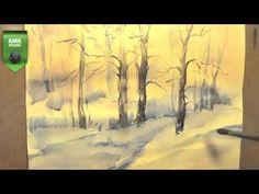 Как научиться рисовать зимний пейзаж, акварель,А Кулагин