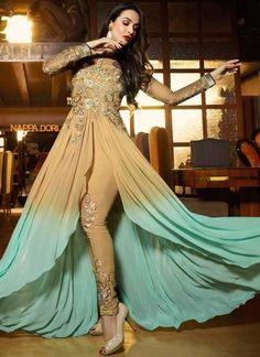 Malaika Arora Khan Cream Zari Work Georgette Anarkali Bollywood Suit http://www.angelnx.com/Salwar-Kameez/Bollywood-Salwar