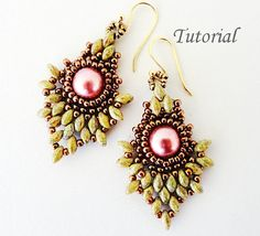 PDF for Pineapple Beadwoven Earrings beading pattern tutorial  - beaded  twin seed bead jewelry - beadweaving
