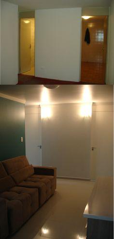 Mais um apartamento pequeno. Em 37m² foi possível melhorar a circulação através do estudo de layout. O legal de trabalhar com a paleta de cores em tom sobre tom é que podemos usar cores nos acessórios e destacar uma das paredes sem fazer o ambiente parecer menor.  http://kellynascimentoarqui.wix.com/organize#!arquitetura-e-interiores/zoom/c1jh6/dataItem-ihbe6vyq