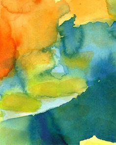 Layers, Large Format art print of original watercolor painting, abstract art orange yellow green blue. $30.00, via Etsy.