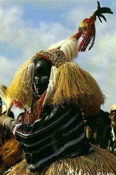 "Africa | ""Masque Monse de Gbonne"" Ivory Coast | Postcard; photographer Maurice Ascani"