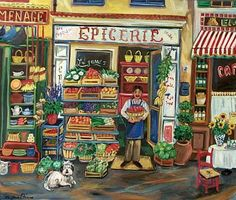 épicerie f (plural épiceries)  grocery (shop or store that sells groceries), more precisely a specialty food shop