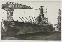 """""""Battle Wagon"""" - an etching of USS Alabama fitting out at the Norfolk navy yard in The crane ship USS Kearsarge is alongside. Etching by John Taylor Arms. Uss Kearsarge, Uss Alabama, Us Battleships, Davidson Galleries, History Online, Cleveland Museum Of Art, Army & Navy, United States Navy, Navy Ships"""