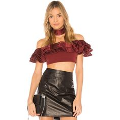 X by NBD x REVOLVE Sylvie Top (241 AUD) ❤ liked on Polyvore featuring tops, fashion tops, beaded tops, off the shoulder ruffle top, off-shoulder tops, button top and red ruffle top