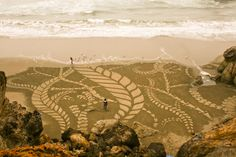 San Francisco-area landscape artist Andreas Amador etches massive sand drawings onto beaches during full moons when his canvas reaches its largest potential. Using only a rake and often several helpers the geometric and organic shapes are slowly carved into the sand, often interacting with the physical topography like the stones in a zen garden.