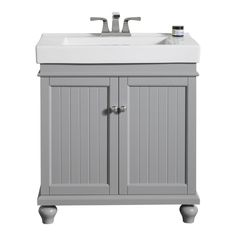 Ove Decors Amber Light Grey Integrated Single Sink Bathroom Vanity With Ceramic Top Common X Actual
