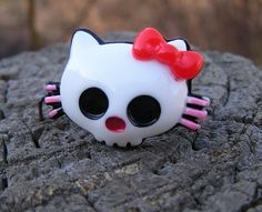 Hello KittY Day of the DeaD Skull adjustable ring Stainless steel RED BOW NEW!!!
