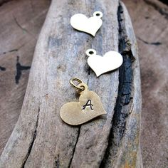 Add Initial Heart Letter Charm  Personalized Gold by NadinArtGlass, $3.50