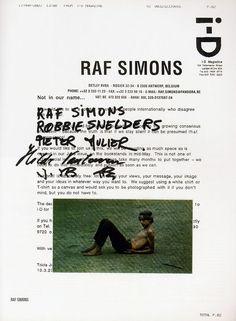 Raf Simons/i-D: