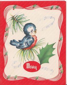 Cute Little Blue Bird Singing, Vintage Christmas Greeting Card!