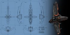 Heavy battle cruiser by ~Cyclodextrose on deviantART I like ship designs such as this as you can easily make parts of the ship movable.  Such as the four wings folding back during fast travel.