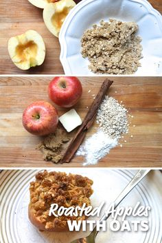 Roasted Apples with Oats: Simple roasted apples make a quick, delicious and great dessert. Don't limit yourself to cold cereal for breakfast the next day. Warm up a dish and start the day off right. A perfect fall treat. #FoodLion