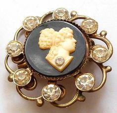 Vintage Lot of CAMEO Rhinestone Jewery Brooch Pins Craft Gold Tone Enamel Metal