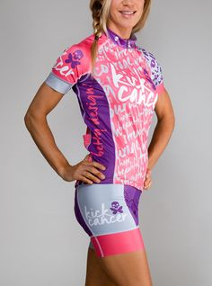 Betty Designs Kick Cancer Womens Cycle Jersey