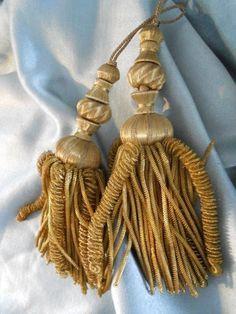 2  ANTIQUE FRENCH  GOLD BULLIONS  METALLIC  TASSELS PASSEMENTERY CATERPILLAR