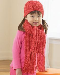 Ribbed Hat and Scarf for Child Knitting Pattern | FaveCrafts.com