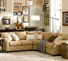 Buchanan Curved 3-Piece L-Shaped Sectional with Wedge #potterybarn Possibly in a darker tan or brownish color