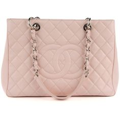 CHANEL Caviar Quilted Grand Shopping Tote GST Light Pink ❤ liked on Polyvore featuring bags, handbags, tote bags, leather tote handbags, quilted tote bags, zipper tote, leather tote bags and handbags totes