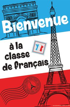 FRENCH WELCOME POSTER Paris France, French Worksheets, Welcome Poster, How To Speak French, French Language, Poster Prints, Education, School, Paper