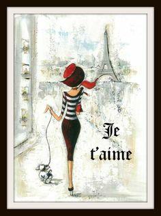 "Vintage Parisian Art Print ""Je Taime"" Reproduction Art Print"