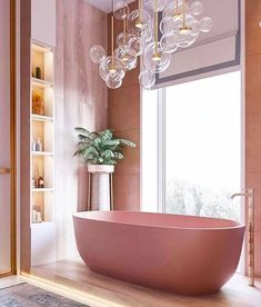 This pink bathroom is giving us interior inspiration. From lighting to water temperature, almost every element can all be controlled by a Mayflower Bathroom Automation System. Call to find out Dream Bathrooms, Beautiful Bathrooms, Bathroom Pink, Bathroom Goals, Pink Bathtub, Bathroom Ideas, Pink Bathroom Interior, Pink Tub, Bathtub Ideas
