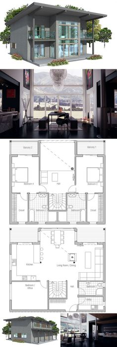 Small house plan oriented towards view with three bedrooms. Small house design in modern architecture. Modern House Plan to Modern Family. Simple Floor Plans, Modern Floor Plans, Modern House Plans, Small House Plans, Modern House Design, House Floor Plans, Building A Container Home, Container Homes, Shipping Container House Plans