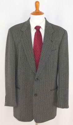 Hugo Boss Sport Coat Jacket Herringbone Chevron Wool Galilei Black 44L #HugoBoss #TwoButton