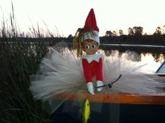 Ginger stopped by early to do some fishing at the lake with us. Summer elf on the shelf fun.