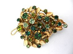 Grandiose ancient brooch 1950  large leaf by RAKcreations on Etsy