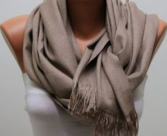 WAS 24 NOW USD 14.90   Beige Pashmina Shawl  Scarf by fatwoman, $14.90