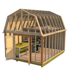 Your hobbies are easy to work on in this spacious barn style shed. You can store your supplies and projects in the huge loft area and add workbenches and tables for your hobby fun! 10x10 Shed Plans, Lean To Shed Plans, Wood Shed Plans, Free Shed Plans, Shed Building Plans, Barn Plans, Building Ideas, Garden Storage Shed, Storage Shed Plans