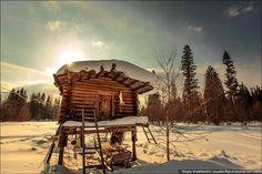 Khanty people cabins in winter, Russia